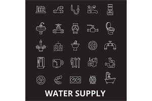Water supply editable line icons