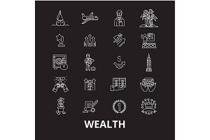Wealth editable line icons vector