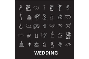 Wedding editable line icons vector