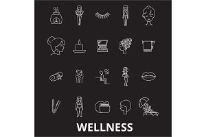 Wellness editable line icons vector