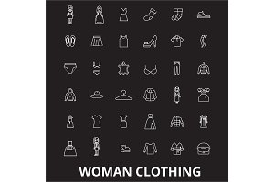Woman clothing editable line icons
