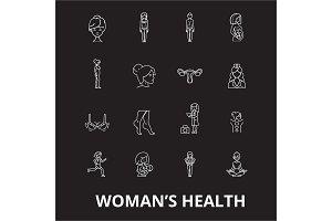 Woman health editable line icons