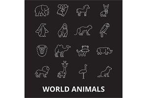 World animals editable line icons