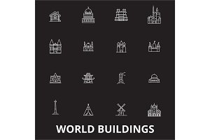 World buildings editable line icons
