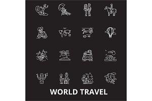 World travel editable line icons