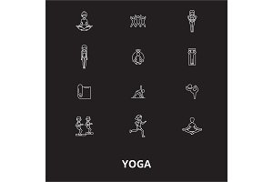 Yoga editable line icons vector set