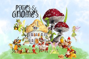 Pixies and Gnomes Clipart Images