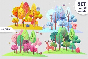 Trees and animals in cartoon style.