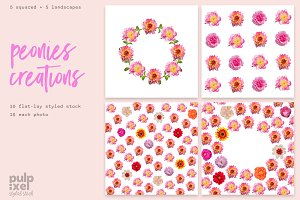 Peonies Creations Styled Stock Photo