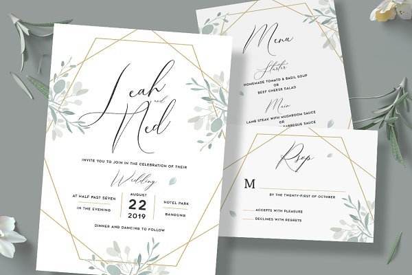 Invitation Templates: Aarley Kaiven - Geometric Wedding Invitation