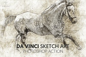Da Vinci Sketch Art Photoshop Action
