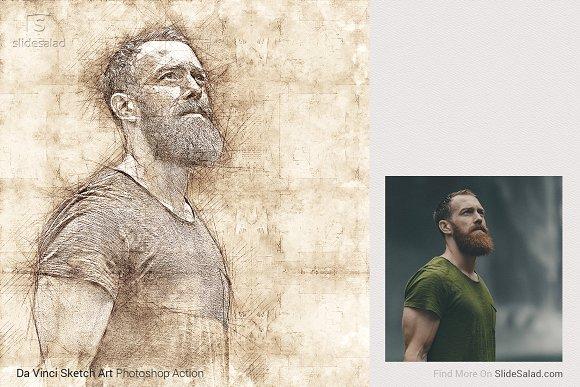 83991e109ab Da Vinci Sketch Art Photoshop Action ~ Photoshop Add-Ons ~ Creative Market