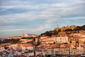 City of Lisbon at Sunset in Portugal