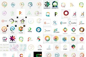 Big set of line business logos