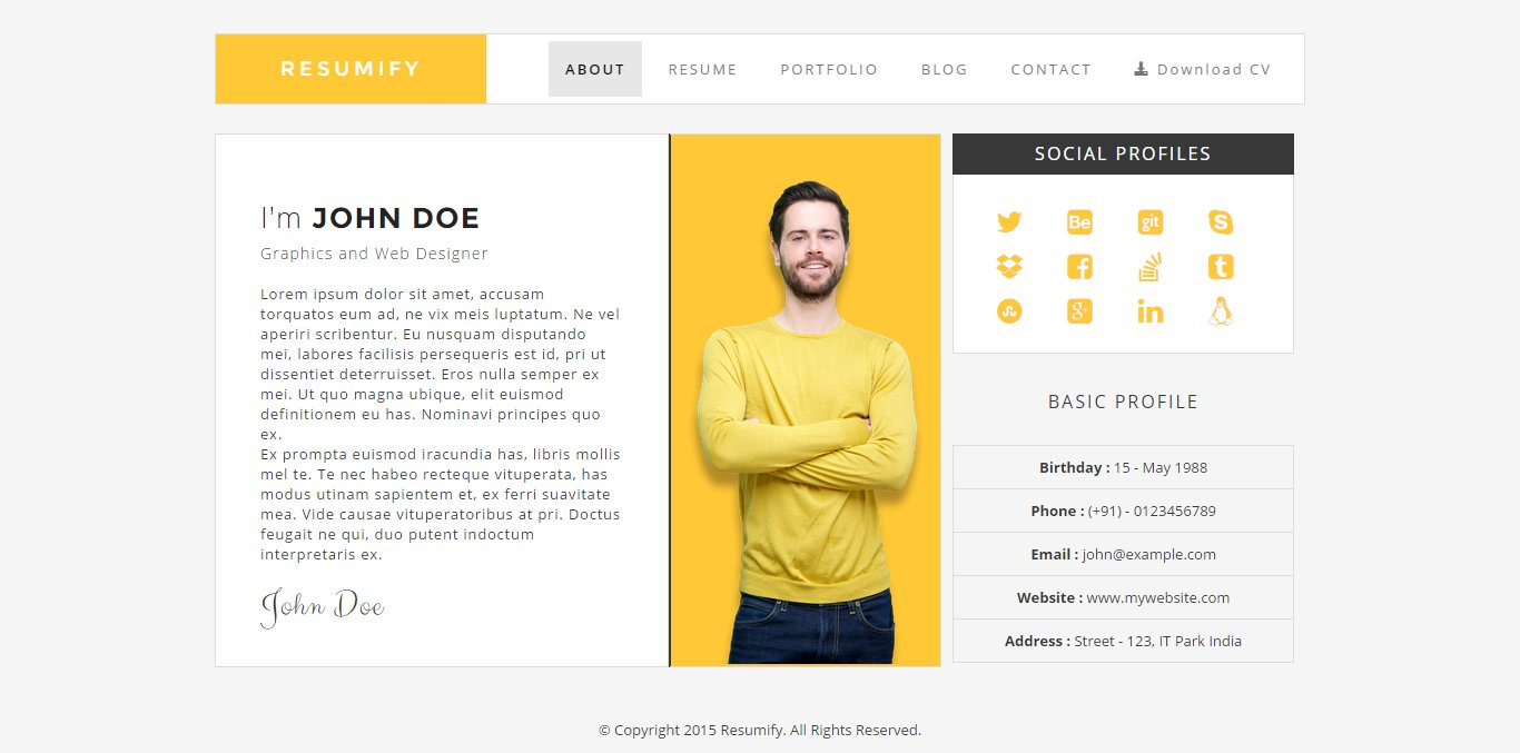 Resumify One Page Resume Template Htmlcss Themes Creative Market