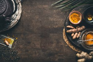 Herbal turmeric tea background