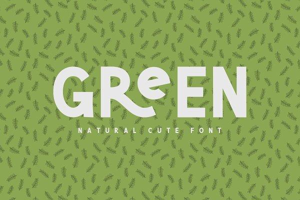 Sans Serif Fonts: Graphicfresh - Green | Natural Cute Font