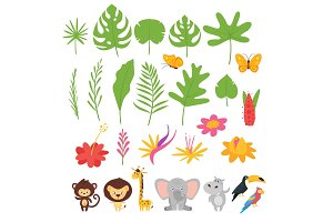 Jungle leaves, flowers and animals