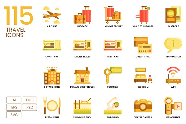 Icons: Flat Icons - 115 Travel Icons | Caramel