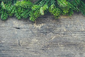 Christmas tree border on wooden