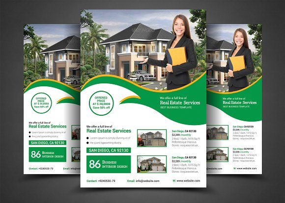 real estate flyer template templates creative market. Black Bedroom Furniture Sets. Home Design Ideas