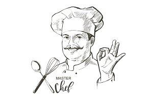 Chef cook vector line sketch hand