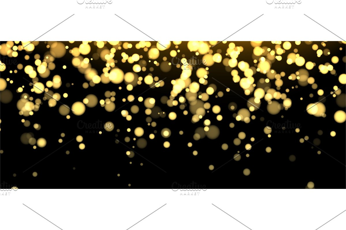 Gold blurred banner on black
