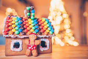 Gingerbread fairy house on a backgro