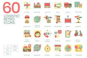 60 Logistics Icons | Retro