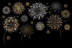 Fireworks design on black background