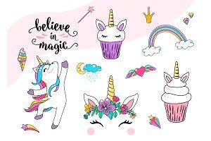 Cute unicorn vector with cupcake