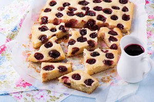 Homemade cherry cake with sauce