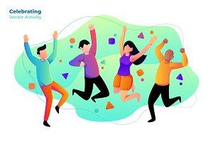 Celebrating - Vector Illustration