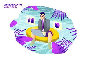 Work Anywhere - Vector Illustration