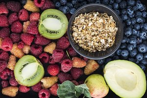 Healthy food: a lot of ingredients