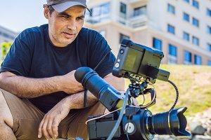 Shooting process on cinema stage -