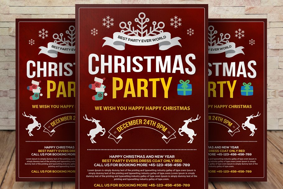 Christmas Party Flyer Template.Christmas Party Flyer Template