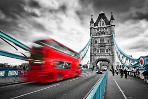 Red bus on Tower Bridge, London