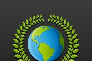 Eco symbol with earth
