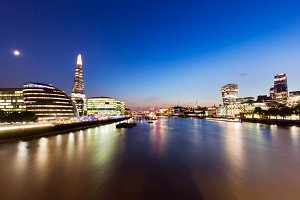 Panorama of London at night