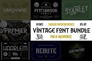 Vintage Font Bundle | 49 Fonts in 1