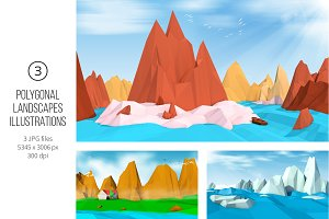 Polygonal Landscapes Illustrations