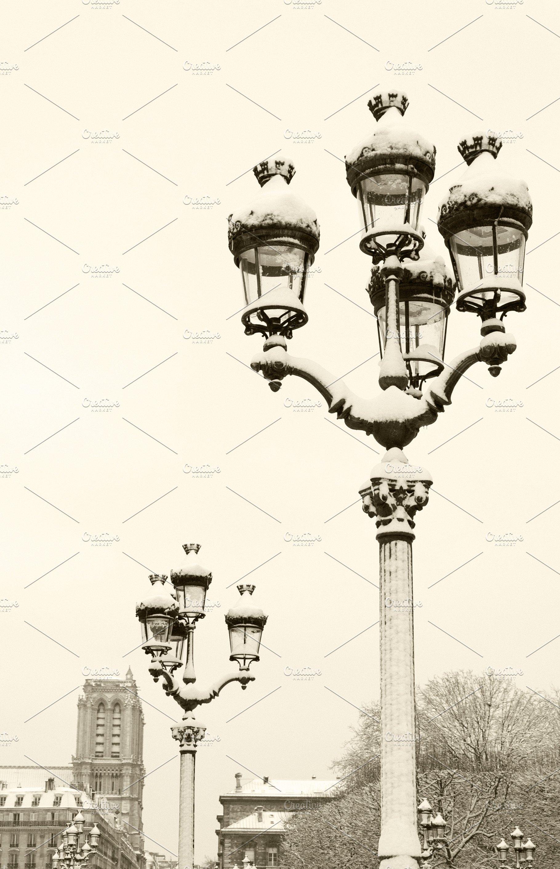 Paris Under Snow Sepia