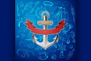 anchor with hand-drawn elements