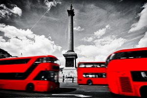 Red buses on the Trafalgar Square