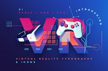 VR Icons and Typography by  in Icons