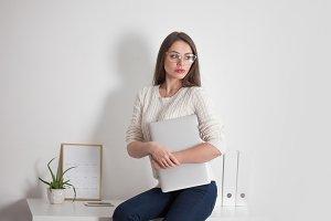 stylish business brunette in glasses