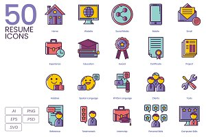 50 Resume Icons   Lilac