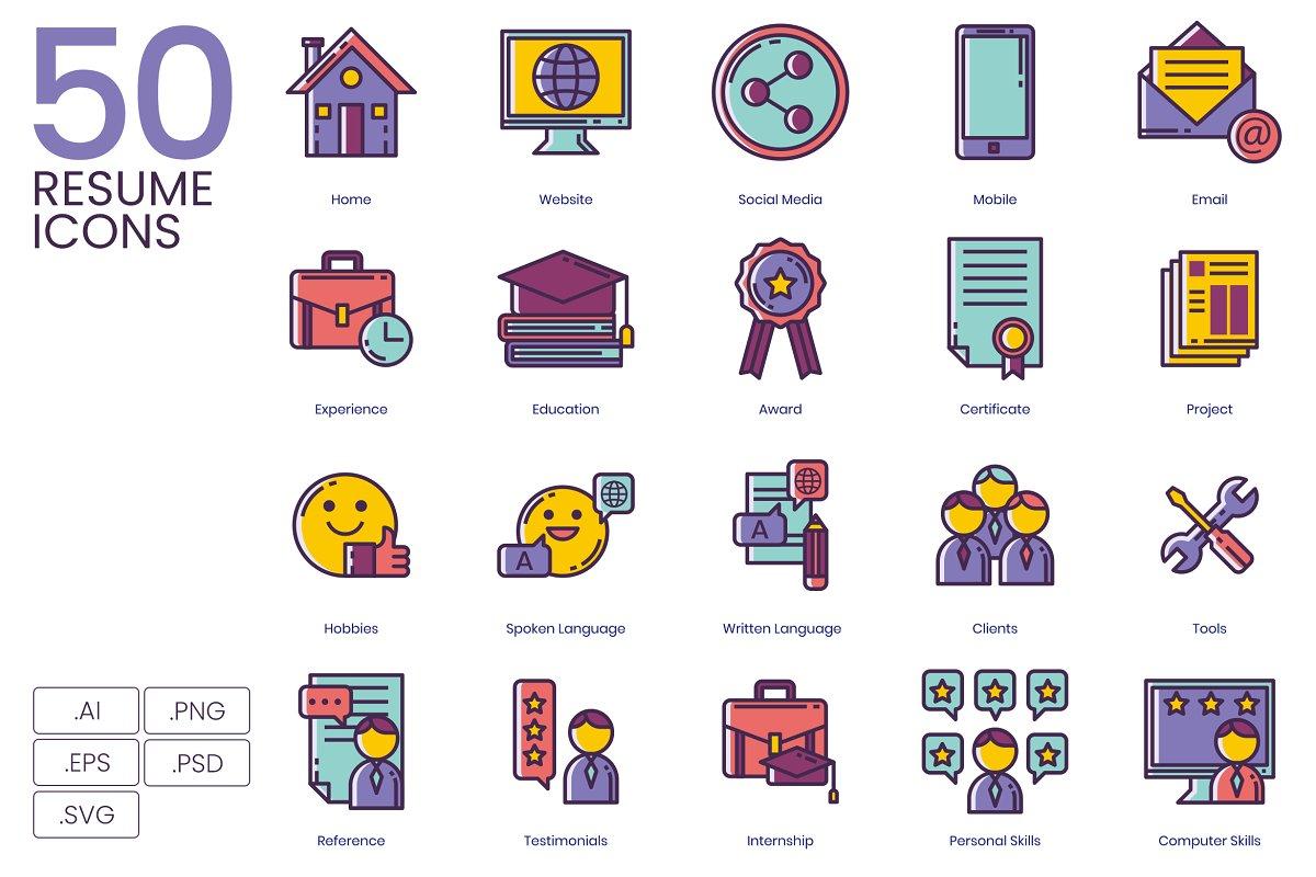 50 Resume Icons