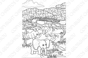 Safari Cartoon Animal Background